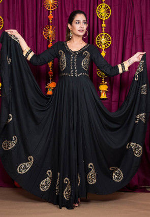 Golden Block Printed Rayon Gown in Black