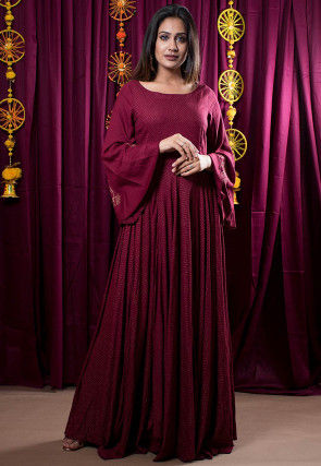 Golden Block Printed Rayon Gown in Maroon