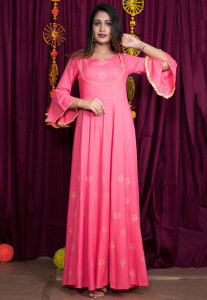 Golden Block Printed Rayon Gown in Pink