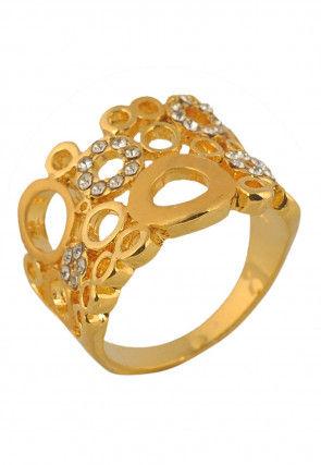 Golden Polished Adjustable Ring