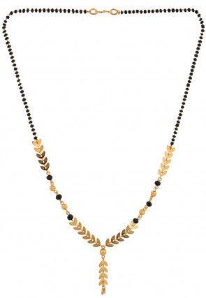 Golden Polished Beaded Mangalsutra