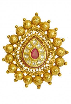 Golden Polished Kundan Adjustable Ring