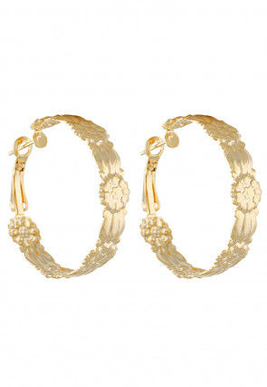 Golden Polished Metallic Hoop Earrings