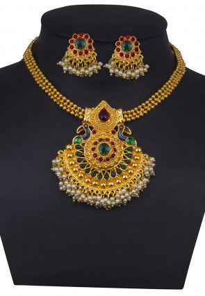 Golden Polished Polki Studded Necklace Set