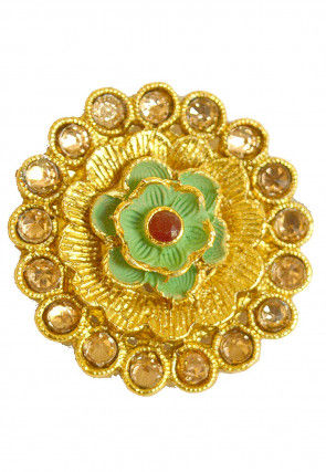 Golden Polished Stone Studded Adjustable Ring