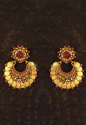 Golden Polished Stone Studded Chandbali Earrings