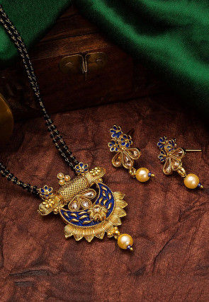 Golden Polished Stone Studded Mangalsutra Set