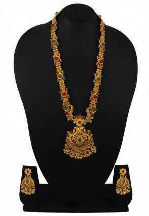 Golden Polished Stone Studded Necklace Set