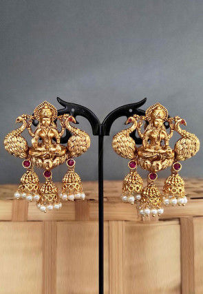 Golden Polished Stone Studded Temple Earrings
