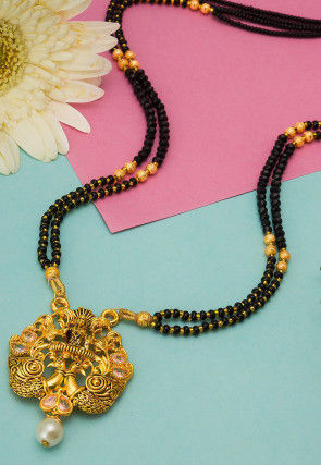Golden Polished Stone Studded Temple Peacock Style Mangalsutra