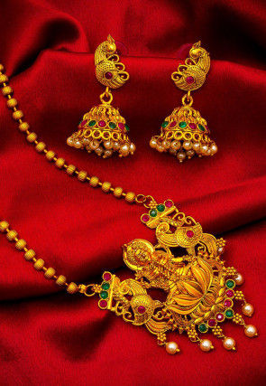 Golden Polished Temple Necklace Set