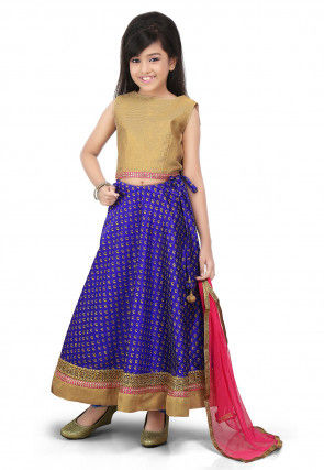 Golden Printed Art Dupion Silk Lehenga in Royal Blue