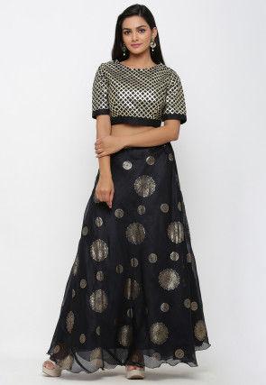 Golden Printed Art Kota Silk Crop Top with Skirt in Black
