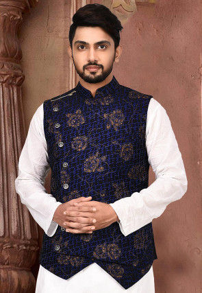 Golden Printed Art Silk Asymmetric Nehru Jacket in Black