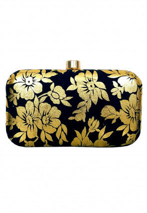 Golden Printed Art Silk Box Clutch in Black