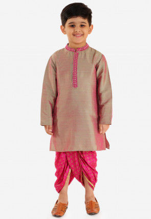 Golden Printed Art Silk Dhoti Kurta in Pink and Green