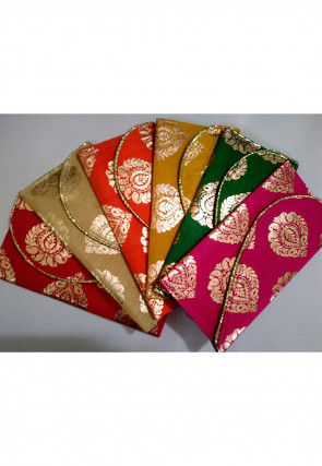 Golden Printed Art Silk Envelope Clutch Bag in Multicolor