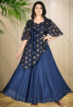 Golden Printed Art Silk Gown in Blue