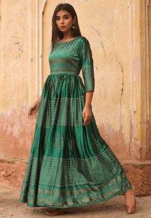 Golden Printed Art Silk Gown in Green