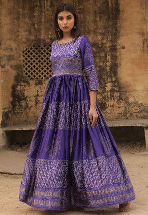 Golden Printed Art Silk Gown in Indigo Blue