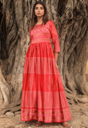 Golden Printed Art Silk Gown in Red