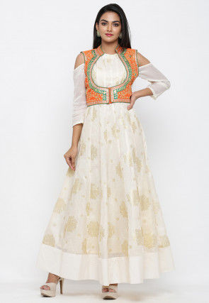 Golden Printed Art Silk Gown with Jacket in Off White