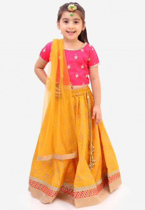 Golden Printed Art Silk Lehenga in Mustard