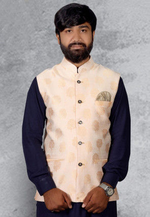 Golden Printed Art Silk Nehru Jacket in Cream