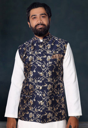 Golden Printed Art Silk Nehru Jacket in Navy Blue