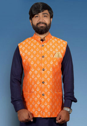 Golden Printed Art Silk Nehru Jacket in Orange