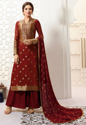 Golden Printed Art Silk Pakistani Suit in Maroon