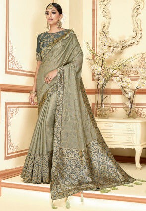 Golden Printed Art Silk Saree in Dusty Green