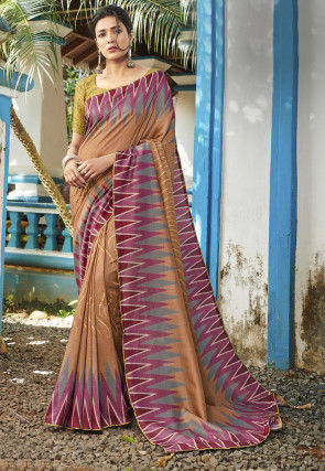 Golden Printed Art Silk Saree in Light Brown
