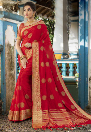 Golden Printed Art Silk Saree in Red