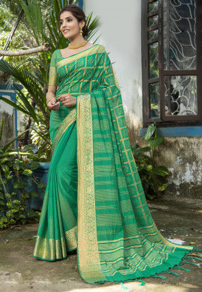 Golden Printed Art Silk Saree in Teal Green