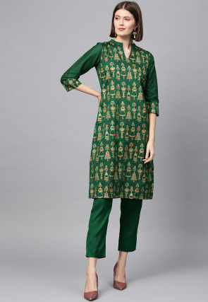 Golden Printed Art Silk Straight Kurta in Dark Green