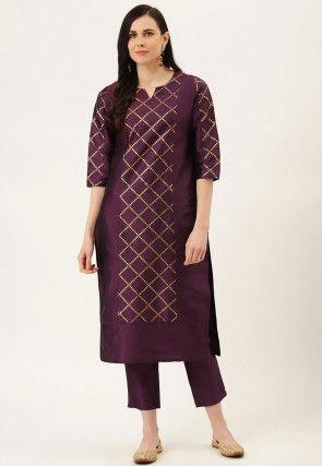 Golden Printed Art Silk Straight Kurta Set in Purple