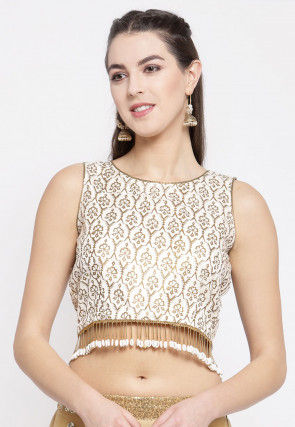 Golden Printed Bhagalpuri Silk Crop Top in Off White