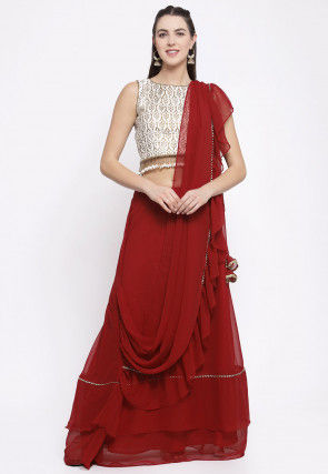 Golden Printed Bhagalpuri Silk Crop Top Set in Off White