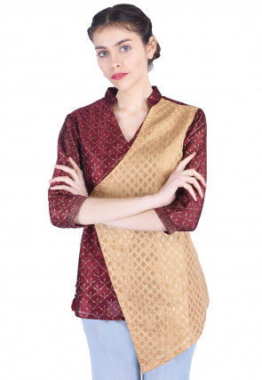 Golden Printed Brocade Top in Beige and Maroon