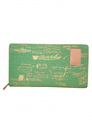 Golden Printed Canvas Wallet in Light Green
