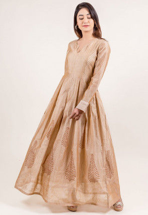 Golden Printed Chanderi Silk Gown in Beige