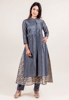 Golden Printed Chanderi Silk Layered Kurta Set in Grey