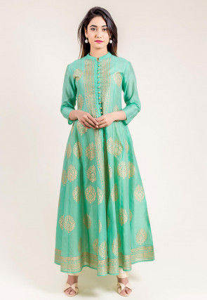 Golden Printed Chanderi Silk Long Kurta Set in Sea Green