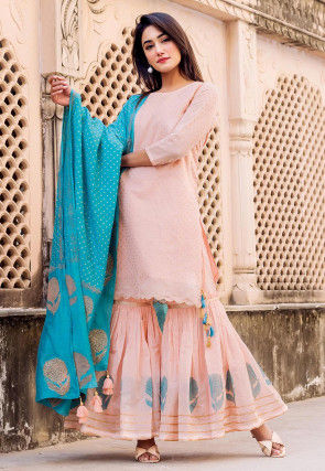 Golden Printed Chanderi Silk Pakistani Suit in peach