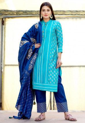 Golden Printed Chanderi Silk Pakistani Suit in Turquoise