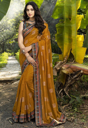 Golden Printed Chanderi Silk Saree in Mustard
