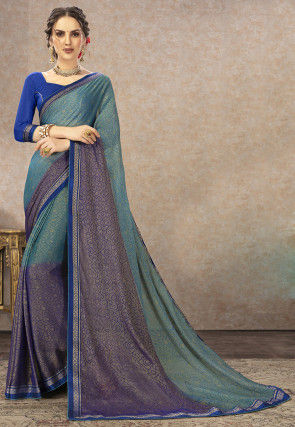 Golden Printed Chiffon Brasso Saree in Teal Blue