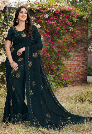 Golden Printed Chiffon Saree in Dark Teal Green