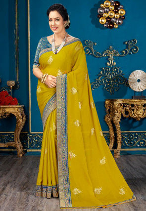Golden Printed Chiffon Saree in Light Olive Green